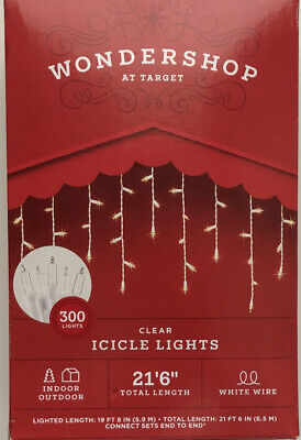 Wondershop 300ct Incandescent Icicle Lights Clear with White Wire Indoor/Outdoor