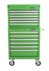 Halfords Industrial Green Tool Box Chest Set - Roll Cab and Top Box