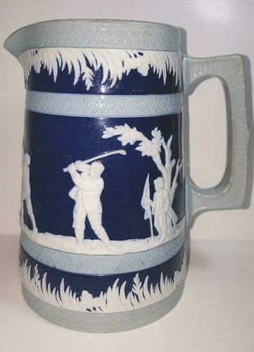 Cobalt Blue Jug with Golf Golfers Golfing; Copeland for R.H. Stearns Boston 1891