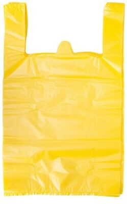 Yellow Plastic T-shirt Shopping Grocery Store Bags Handles Large 11.5x6x21