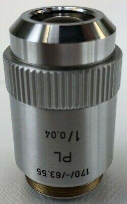 Leitz Wetzlar Plan Pl 1x 0.04 170mm-63.55 Microscope Objective