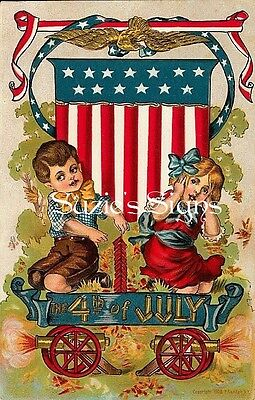 Fabric Block Vintage 4th of July Celebration Cannons Children Wagon