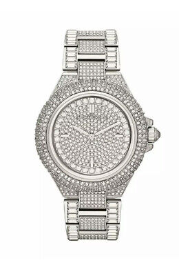 Michael Kors MK5869 Camille Crysta Pave Silver Tone Women Watch *Brand New*