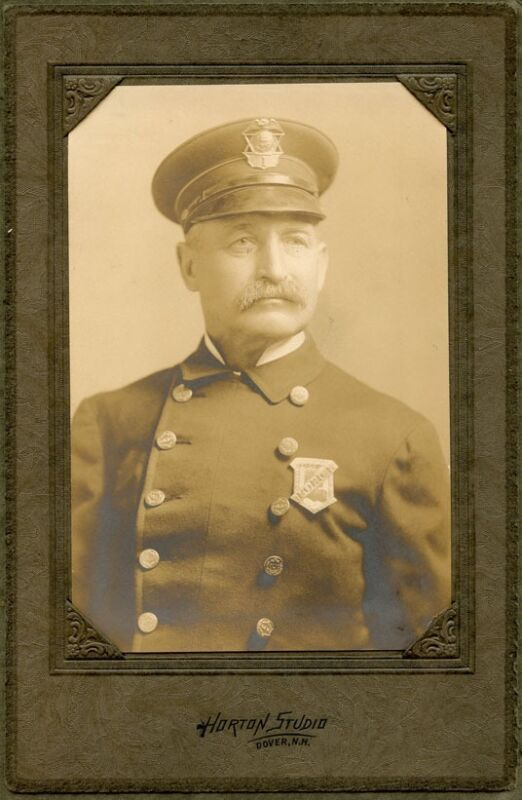 Ca. 1910s Photo of Dover, New Hampshire Chief of Police in Uniform and Hat Badge