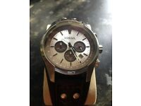 Men's fossil watch,coachman,silver face,new battery