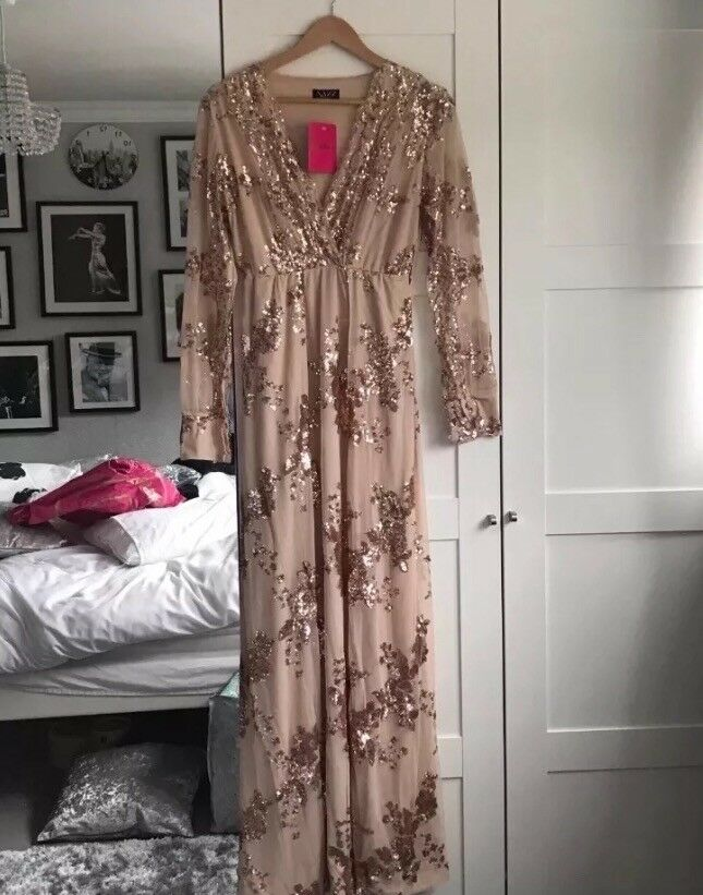 4c4a06cd Rose Gold Sequin Long Sleeve Maxi Dress PlUS FREE River Island Heels Gold  size 5