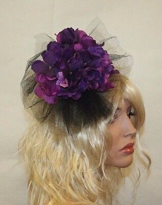 Purple/Black Fascinator with flowers and veil, Wedding Accessories, Helloween - Flowers And Veil