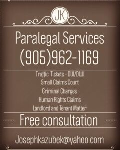 LTB small claims and criminal charges.  Jk Paralegal services