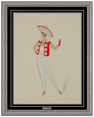 Erte Rare Male Costume Design Original Gouache Art Deco Painting Signed Bronze