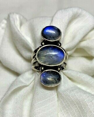 NICKY BUTLER STERLING SILVER 3 LARGE RAINBOW MOONSTONES RING SIZE 7 1/4