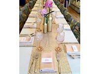 8 rose gold champagne table cloths - perfect for weddings
