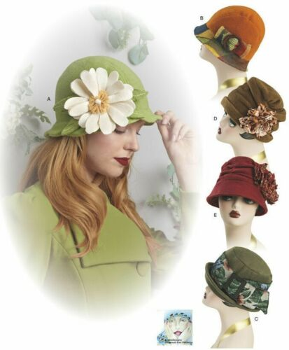 """S8573 Sewing Pattern 5 Hats Cloche Retro 1920 1930  Vintage Look SM-LG 21-23"""""""