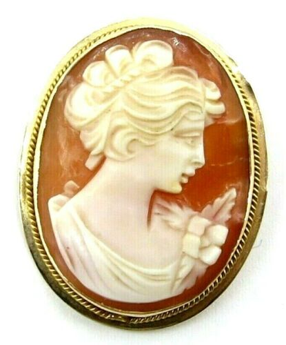 14K Yellow Gold Cameo Brooch Pendant, 1""