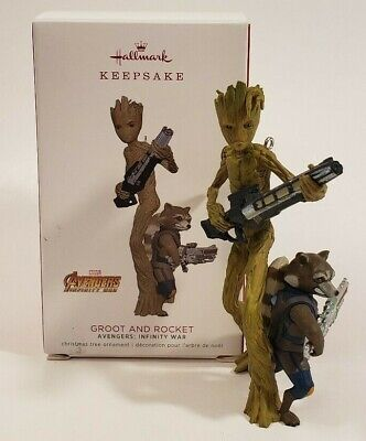 Hallmark 2018 Marvel Avengers Infinity War Groot & Rocket Ornament Free Shipping](Marvel Ornaments)