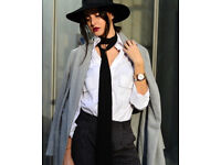 Ladies Long Trendy Fashion Black Skinny Scarf.[9cmx223cm].
