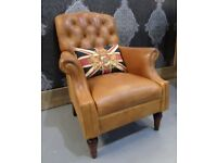 Fantastic Laura Ashley Chesterfield Lancaster Arm Chair in Tan Leather - Uk Delivery