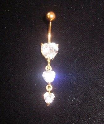 Rhinestone 3 Heart Belly Button Ring Dangle Drop Gold Charm Stainless Steel