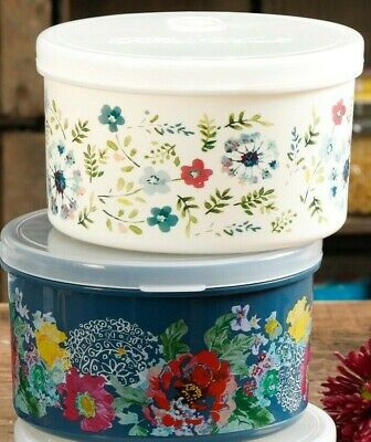 Pioneer Woman 42 Oz Round Food Containers Vented Lid Country Garden Kari TWO NEW