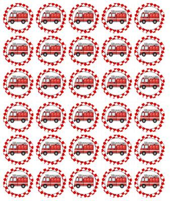 Fire Truck Cupcakes (30 FIRE TRUCK Cupcake Edible Wafer Paper Birthday Party Cake Decoration)