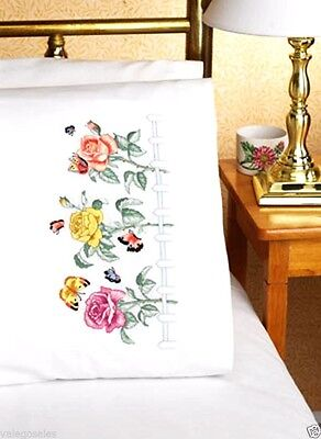 """Janlynn Stamped Embroidery kit 20""""x 30"""" Pillowcases ~ ROSE GARDEN #021-1101 Sale"""