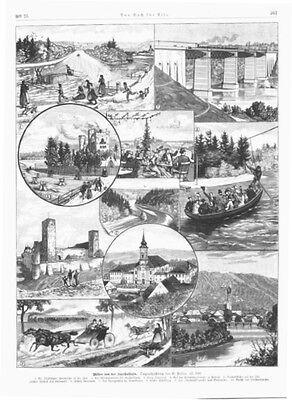 Isartalbahn, Sammelblatt, Original-Holzstich ca. 1885