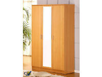 BRAND NEW 3 DOOR WARDROBE WITH MIRROR, SHELVES, DRAWER AND HANGING RAIL - TRIPLE OPEN DOOR CUPBOARD