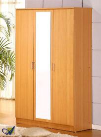 BRAND NEW 3 DOOR WARDROBE WITH MIRROR, SHELVES, DRAWER AND HANGING RAIL - TRIPLE OPEN DOOR CUPBOARD