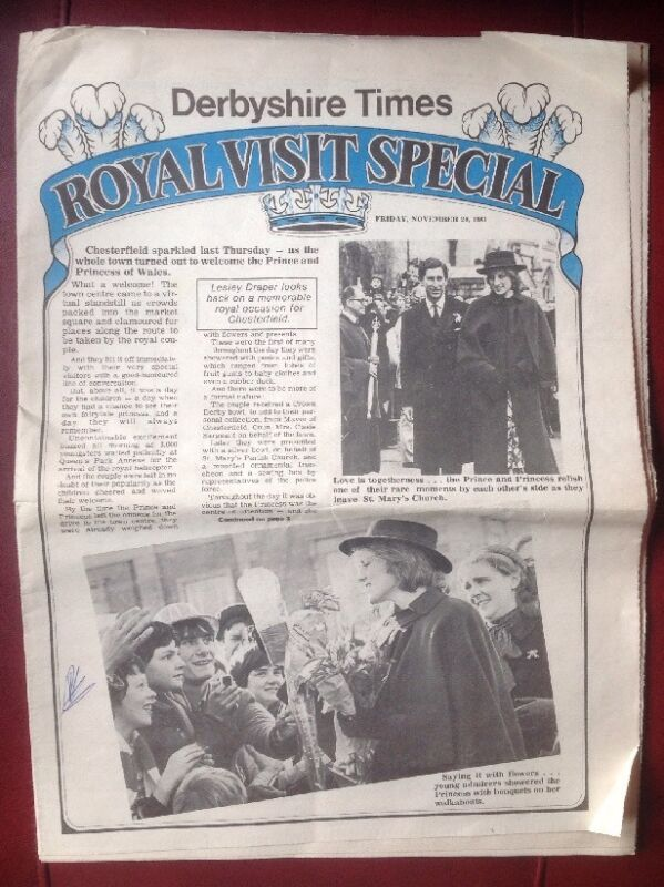 PRINCESS DIANA Royal visit Derbyshire newspaper November 1981.  Rare