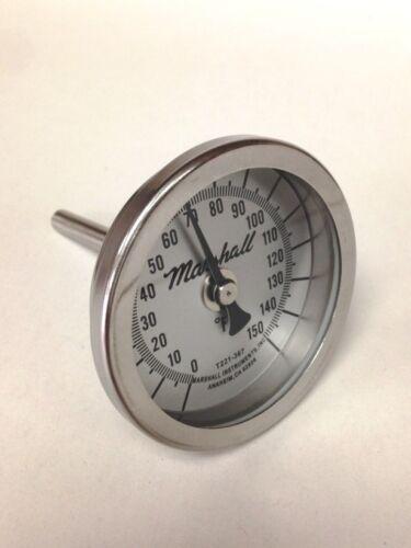 "Bimetallic Industrial Thermometer, 0-150F, 2.5"" Dial, 2.5"" Stem, 1/4"" NPT CB"