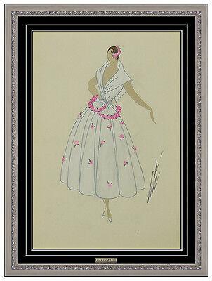 Erte Original Art Deco Costume Dress Design Gouache Painting Signed Tirftoff SBO