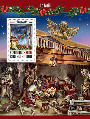 Central African Republic 2016 MNH Christmas 1v S/S Santa Claus Nativity Stamps
