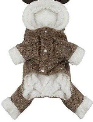 Dog Reindeer Deer Jacket Costume Elk Moose Soft Hoodie Coat Jumpsuit Brown - Deer Dog Costume
