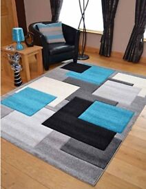 Modern Silver Teal Black Square Design Thick Quality Carved Rugs