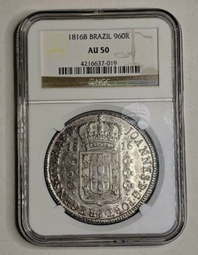 1816B Brazil Silver 960R NGC AU 50