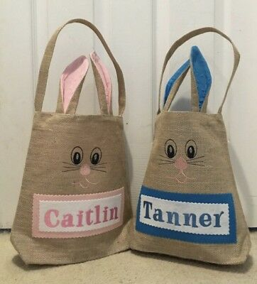 Personalized Easter Basket, Easter Basket With Bunny Ears, Bunny Bag, Easter Bag
