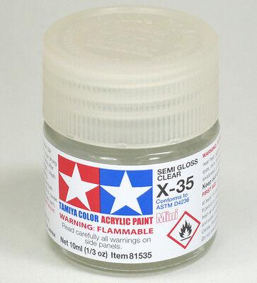 Tamiya SEMI GLOSS CLEAR  Acrylic Hobby Model Paint X-35 Mini 10ml Bottle 81535