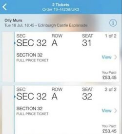 FRONT ROW Olly Murs, Edinburgh Castle x2, 18 July
