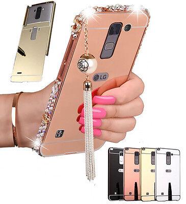 Us Crystal Metal Bumper Frame Bling Plastic Back Cover Mirror Case For Lg Phones