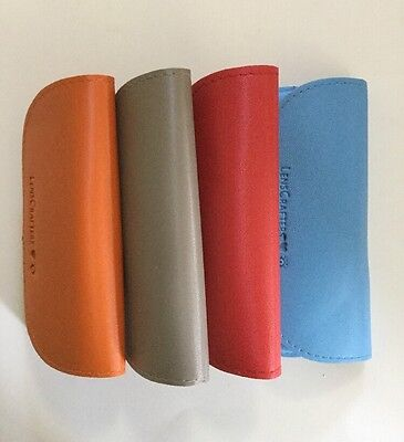 Lot Of 4 Lenscrafters Eye Glass Cases Red Blue Orange And Tan