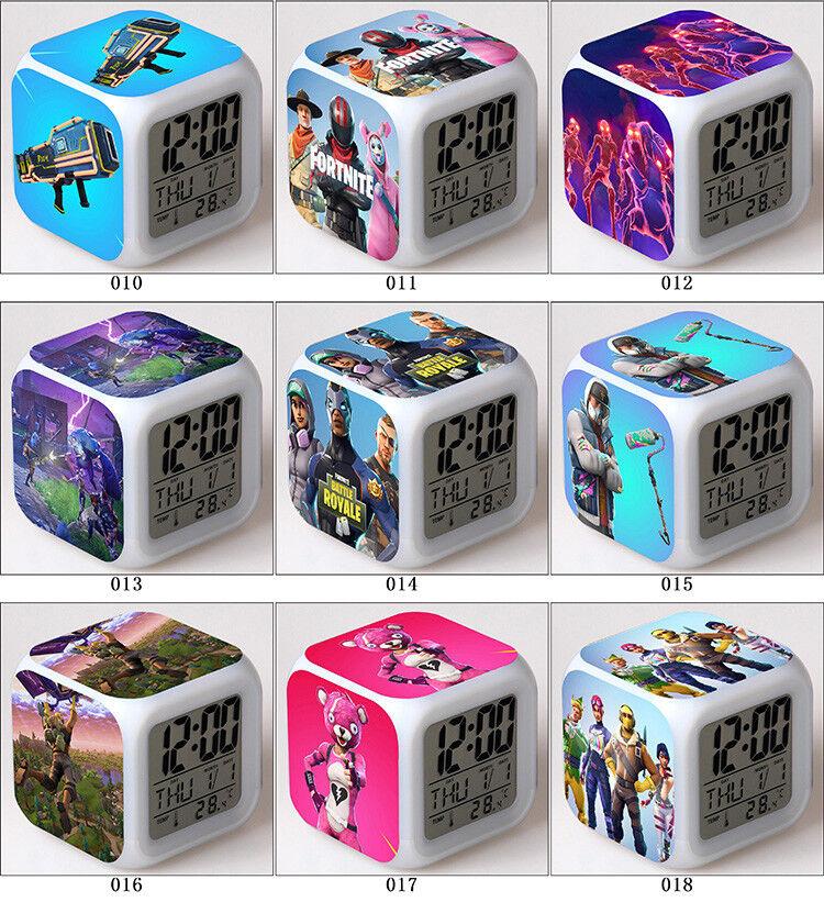 Fortnite Game TPS Color Changer LED Night light Digital Alarm Clock Gift B