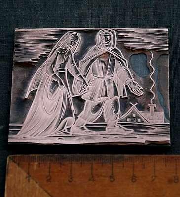LÄNDLICHE SZENE Galvano Druckstock Kupferklischee Druckplatte copper plate print