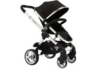 I candy peach 2 in black, comes with flat pram and older seat. Few scratches /marks age related.