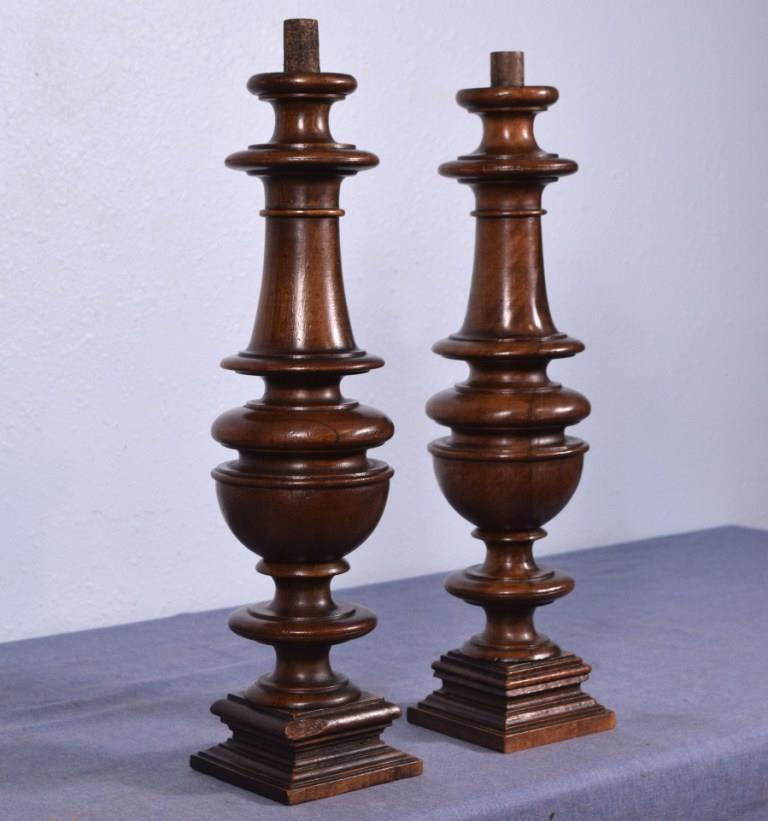"*15"" Pair of French Antique Walnut Posts Pillars Architectural Columns Balusters"