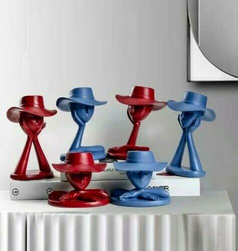 Hat Lady Resin Statue Sculpture Ornament Figurine Tabletop Home Office Decor Art