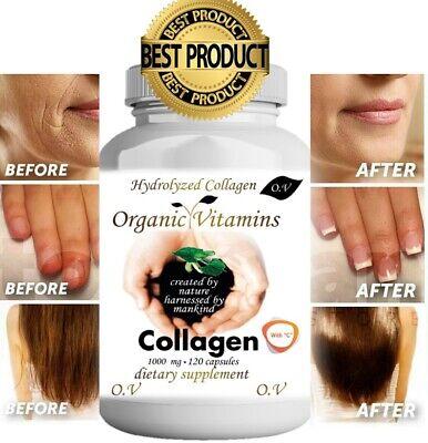 Colageno Hidrolizado Con Vitamina C 120 Capsulas Pastillas Rejuvenece Piel Pelo