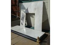 Solid marble fireplace hearth + back mount + surround trim