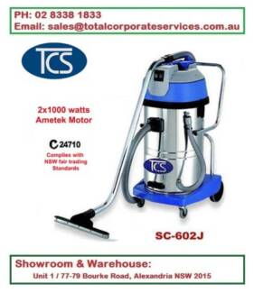 60L Wet & Dry Vacuum Cleaner 2x1000W Ametek Motors Steel tank