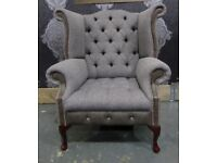 Stunning New Chesterfield Queen Anne Wing Back Chair in Tweed Fabric with Grey Leather - UK Delivery