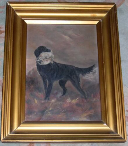 RARE LARGE ANTIQUE FLAT COAT RETRIEVER DOG OIL PAINTING CANVAS 1915 FLAT-COATED