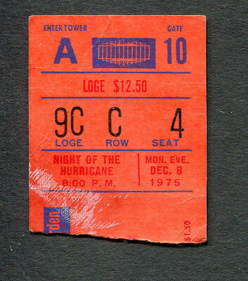 1975 Bob Dylan Rolling Thunder Revue Concert Ticket Stub Night Of The Hurricane